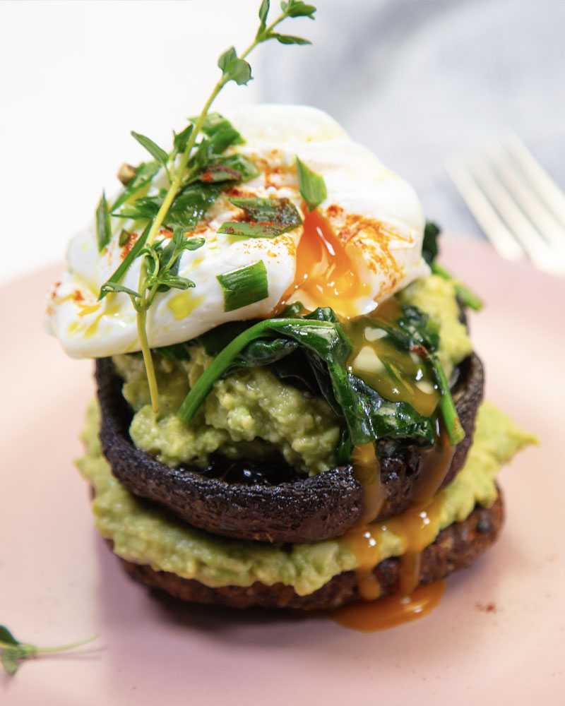Kumara Burger Poached Egg & Avocado Image