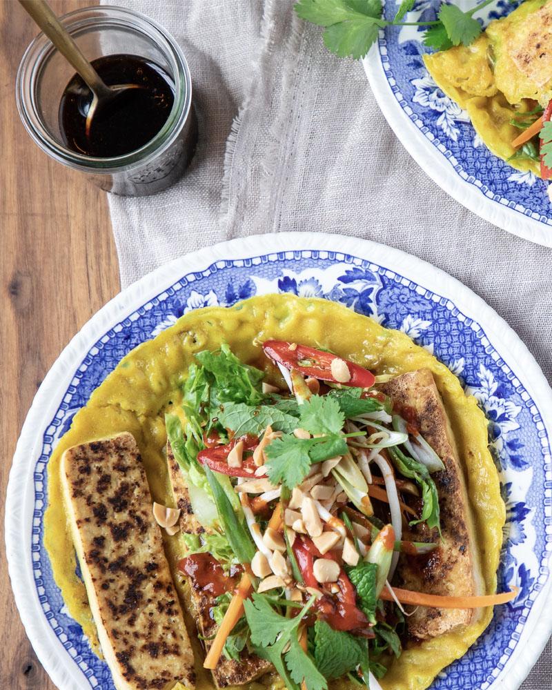 Vietnamese Tofu Turmeric Pancakes Image